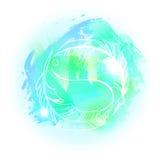 Abstrakter zarter blauer Aquarellhintergrund mit Hand gezeichnetem Whit Stockbild