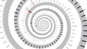 Abstrakter Zeittunnel mit doppeltem Visionseffekt, nahtlose Schleife Blurred drehender Trichter mit den Uhrhänden und den Zeckenk lizenzfreie abbildung