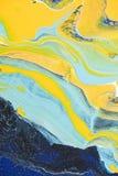 Abstraktes Ölgemälde mit den gelben und hellblauen Farben lizenzfreie stockfotografie