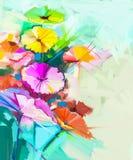 Abstraktes Ölgemälde von Frühlingsblumen lizenzfreie abbildung