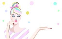 Abstraktes überraschtes Mädchen des Aquarells Porträt Stockfoto