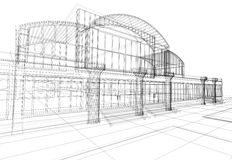 Abstraktes 3D Bürohaus Stockbild