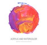 Abstraktes Acryl, gemalter Hintergrund des Aquarells Kreis Stockfotografie