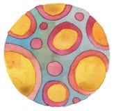 Abstraktes Acryl und gemalter Hintergrund des Aquarells Kreis Stockbild