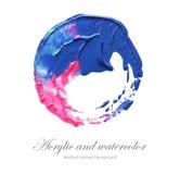 Abstraktes Acryl und gemalter Hintergrund des Aquarells Kreis Lizenzfreie Stockbilder