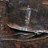 Abstraktes altes braunes und silbernes gemaltes Acryl oder Ölfarben masern Hintergrund Lizenzfreies Stockbild