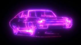 Abstraktes Animationsauto hergestellt mit Lichtstrahl wireframes auf schwarzem lokalisiertem Hintergrund Automobilauto und aerody lizenzfreie abbildung