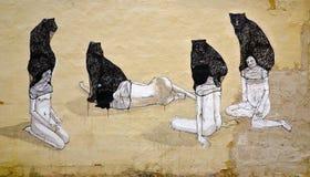 Abstraktes anonymes Wandbild Stockfotos