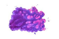 Abstraktes Aquarell der purpurroten Farbe Handgemachter Fleck stockfotos