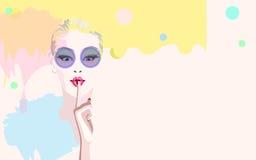 Abstraktes Aquarellporträt überraschte Mädchenmodell in der Sonnenbrille Stockfotos