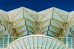 Abstraktes Architekturdetail von Gare tun Bahnstation Oriente Lissabon Oriente Lizenzfreies Stockfoto