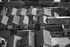 Abstraktes asiatisches Haus-Schwarzweiss-Dach Stockfoto