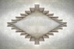 Abstraktes Augenkonzept Tiefe der Dachbodenzement-Gebäudeform Weiße Wand, schwarze Fenster lizenzfreie stockbilder