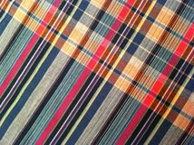 abstraktes Beschaffenheitsplaid-Baumwollgewebe des bunten Hintergrundes Stockbild