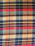 abstraktes Beschaffenheitsplaid-Baumwollgewebe des bunten Hintergrundes Lizenzfreies Stockfoto