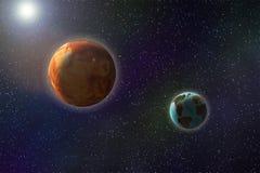 Abstraktes Bild der Bewegung im Raum, ein großes rotes Planetenfliegen nex vektor abbildung