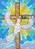 Abstraktes Bild in der Buntglasart mit Kreuz und Taube Stockfotografie