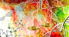 abstraktes Bild der Kette von DNA und von Waage Lizenzfreies Stockfoto