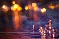 Abstraktes Bild des SchachBrettspiels Geschäft, Wettbewerb, Strategie, Führung und Erfolgskonzept Lizenzfreie Stockbilder