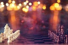 Abstraktes Bild des SchachBrettspiels Geschäft, Wettbewerb, Strategie, Führung und Erfolgskonzept Lizenzfreies Stockfoto