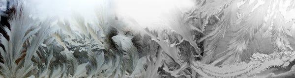 abstraktes Bild des Winterfrosts auf der Fensternahaufnahme Lizenzfreie Stockfotos