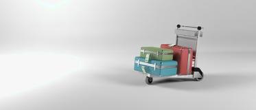 Abstraktes Bild einer Flughafengepäcklaufkatze Stockfoto