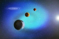 Abstraktes Bild einer Parade der Planeten im Raum unter Sternen und n vektor abbildung