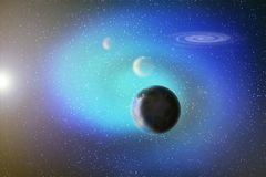 Abstraktes Bild einer Parade der Planeten im Raum unter Sternen und n lizenzfreie abbildung