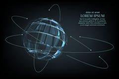 Abstraktes Bild einer Planet Erde in Form eines sternenklaren Himmels oder eines Raumes, Punkten, Linien und aus Formen in besteh Lizenzfreies Stockfoto
