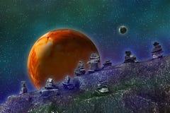 Abstraktes Bild eines parallelen Universums, Ansicht von einem unbekannten ston stock abbildung
