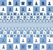 Abstraktes Bild eines Schachbretts mit Stücken, blaue Farbe lizenzfreie abbildung