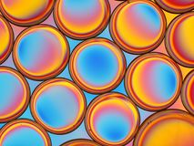 Abstraktes Bild von Öltröpfchen mit buntem Hintergrund Stockbilder