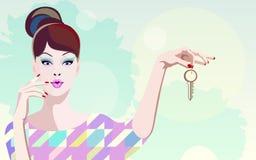 Abstraktes Bild von modernen Frauen, wenn eine Wohnung gekauft wird Stockfoto