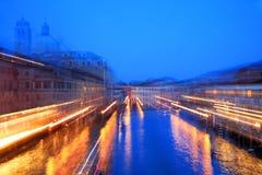 Abstraktes Bild von Venedig im Sonnenunterganglicht Stockfotografie