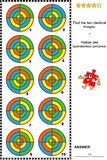 Abstraktes Bildrätsel - finden Sie zwei identische Bilder Stockfotos