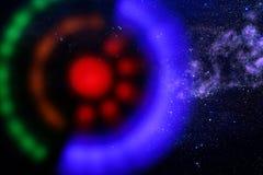 abstraktes Bildraumschiff-UFO im Konzept des nächtlichen Himmels und der Astrologie Lizenzfreie Stockfotos