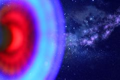 abstraktes Bildraumschiff-UFO im Konzept des nächtlichen Himmels und der Astrologie Stockbilder