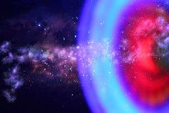 abstraktes Bildraumschiff-UFO im Konzept des nächtlichen Himmels und der Astrologie Lizenzfreies Stockbild