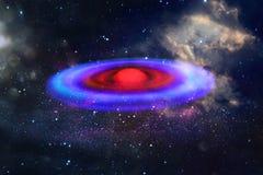abstraktes Bildraumschiff-UFO im Konzept des nächtlichen Himmels und der Astrologie Stockfotografie