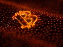 Abstraktes Bitcoin-Zeichen errichtet als Reihe Geschäfte in Begriffs-Illustration 3d Blockchain Lizenzfreie Stockfotos
