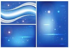 Abstraktes Blau des Hintergrundes drei Stockfotos