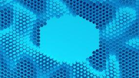 Abstraktes Blau kristallisierter Hintergrund Bienenwabenbewegung wie ein Ozean Mit Platz für Text oder Logo Lizenzfreie Stockfotografie