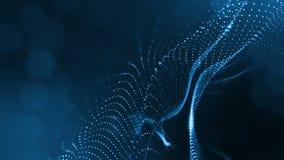 Abstraktes Blau schlang Hintergrund von glühenden Partikeln wie Chrisrmas-Girlande Dunkle Zusammensetzung mit dem Oszillieren leu vektor abbildung