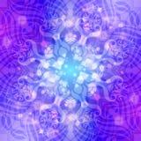 Abstraktes blau-violettes rundes Muster mit Lichtern Stock Abbildung