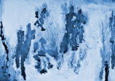 Abstraktes blaues Aquarell auf Papierbeschaffenheit als Hintergrunddesign Stockbilder