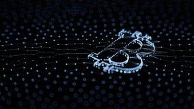 Abstraktes blaues Bitcoin-Zeichen errichtet als Reihe Geschäfte in Begriffs-Illustration 3d Blockchain Lizenzfreie Stockfotos