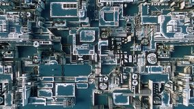 Abstraktes blaues futuristisches techno Muster Illustration Digital 3d Lizenzfreie Stockfotografie