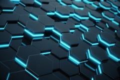 Abstraktes blaues Glühen des futuristischen Oberflächenhexagonmusters Wiedergabe 3d Stockbilder