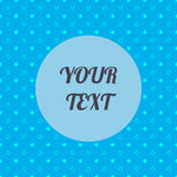 Abstraktes blaues nahtloses Muster, weiße Kreise, Wellen und Punkte mit minimaler runder Textbox entwerfen Vorrat Lizenzfreie Stockfotografie