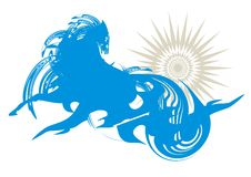 Abstraktes blaues Pferd und Sonne Stockfotos